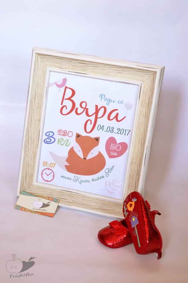 Постер с рождените данни на бебе